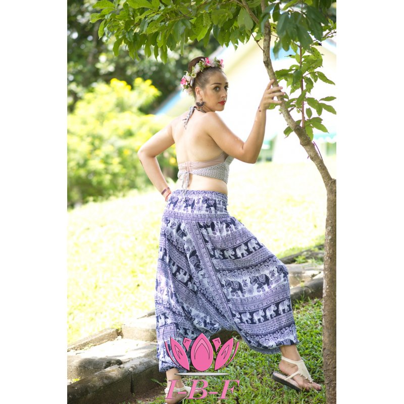 Thaipants elephant design blue