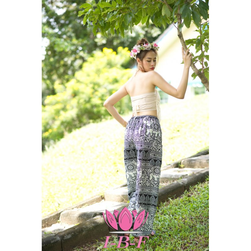 Thaipants elephant design black