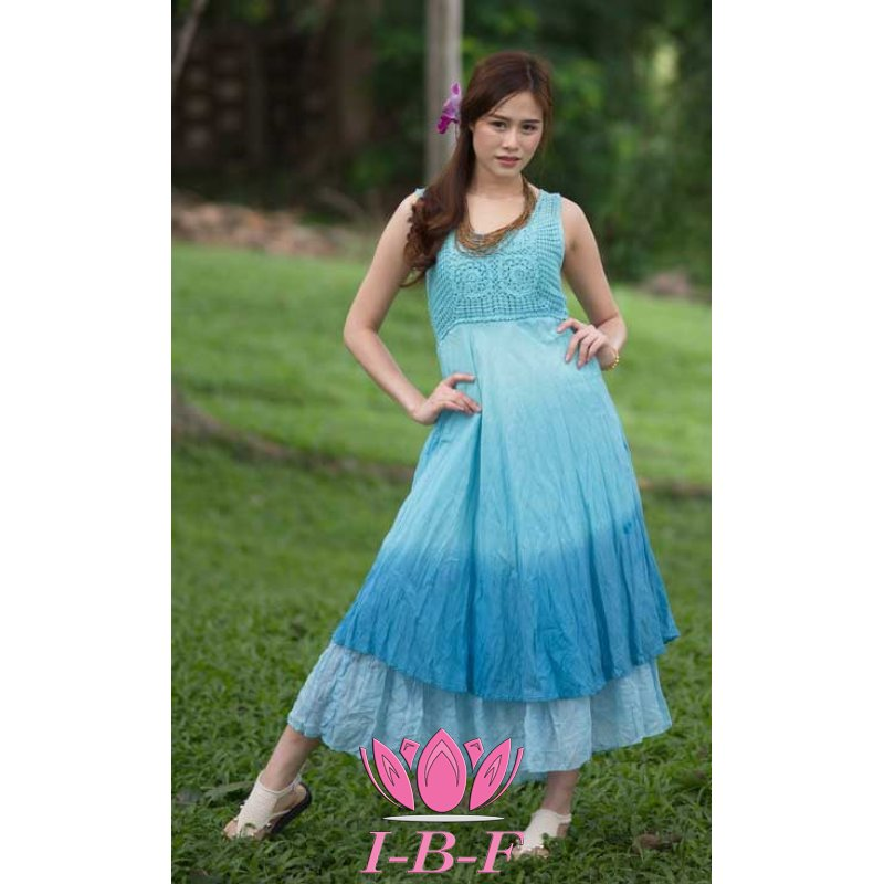Long layered dress , blue, twin-tone
