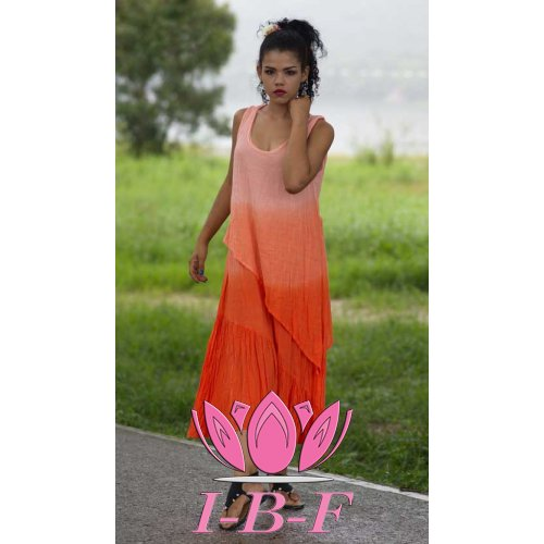 Long layered dress , orange twin-tone
