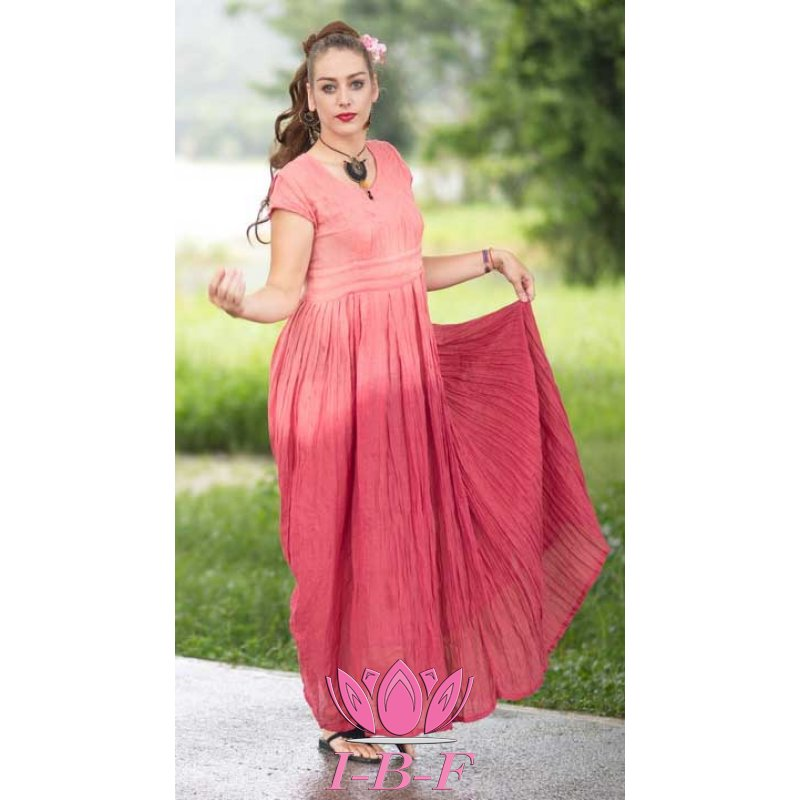 Long dress , pink twin-tone