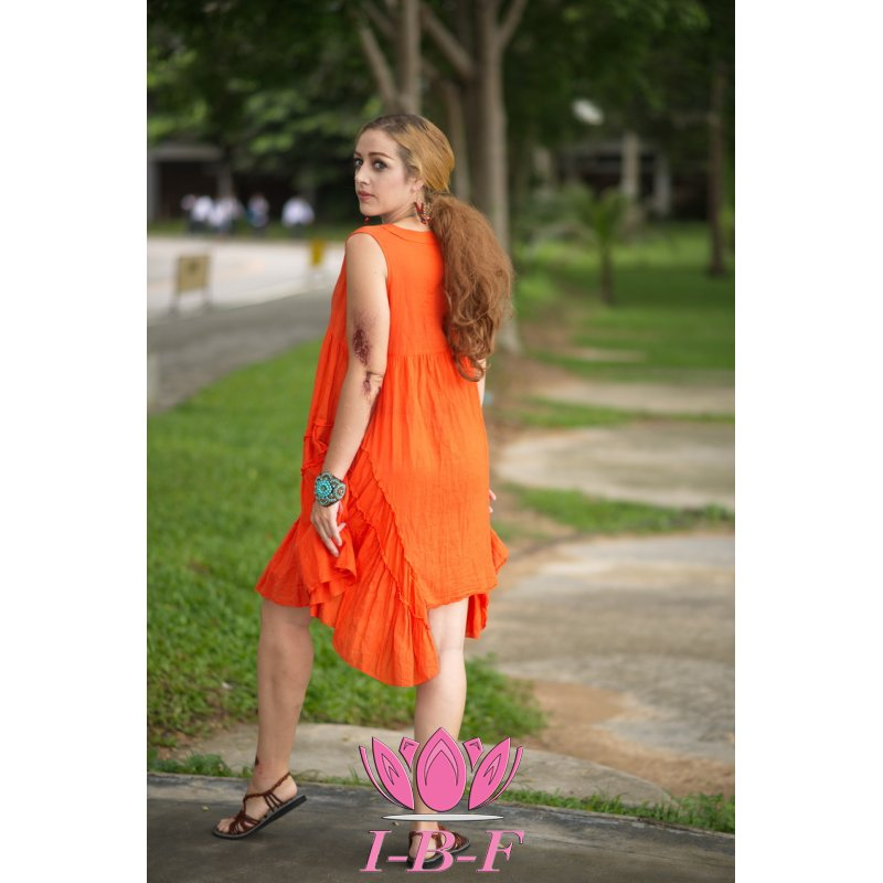 Short butterfly dress, orange