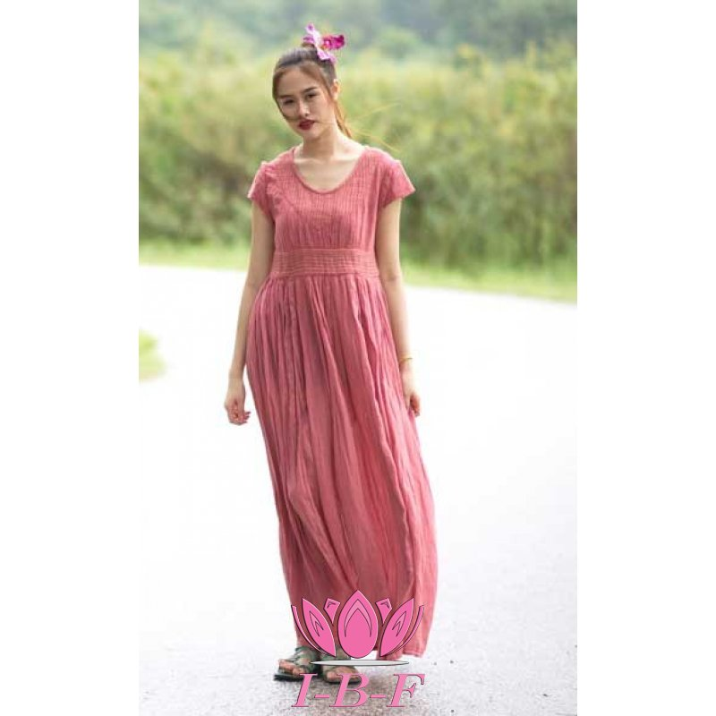 Long dress, pleated, purple