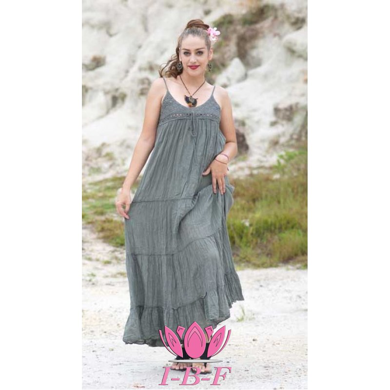 Long ribbon dress , grey