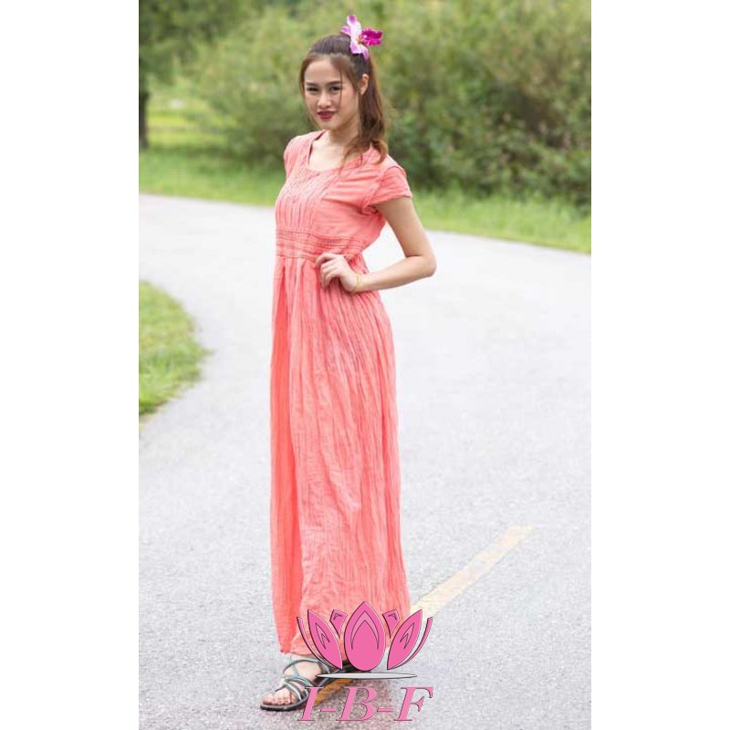 Long dress, pleated, pink
