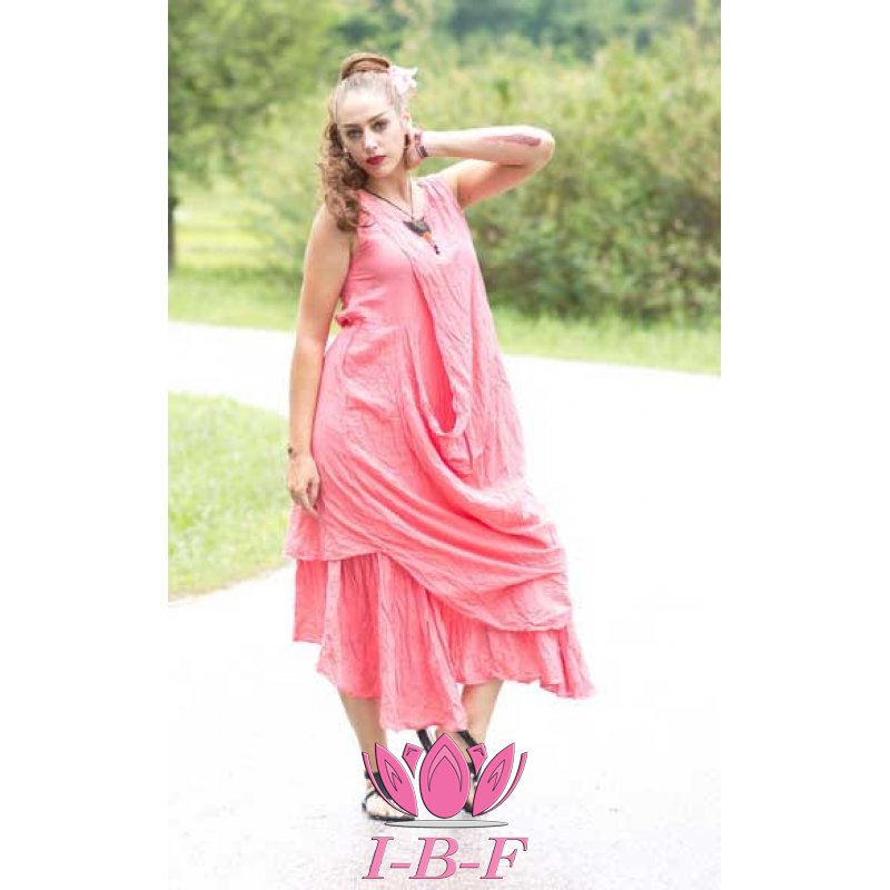 Long layered dress , pink