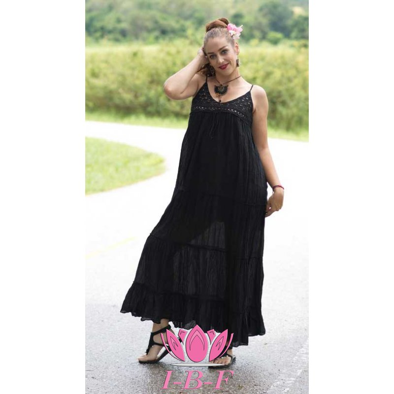 Long dress, with knitted top, black