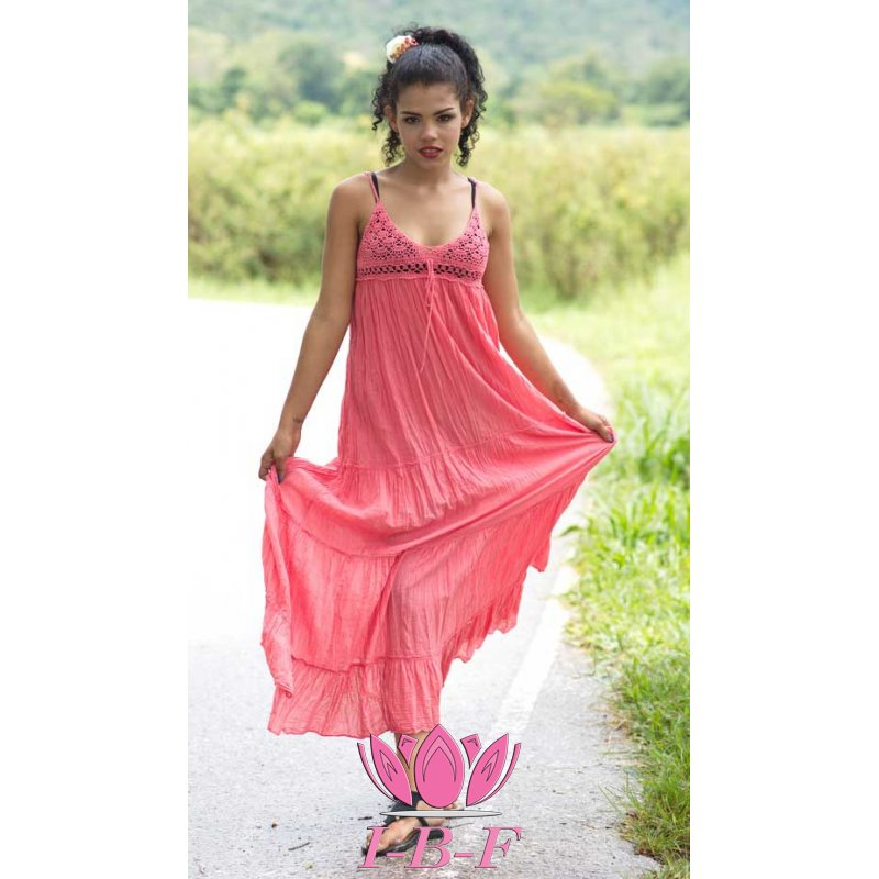 Long dress, with knitted top, pink