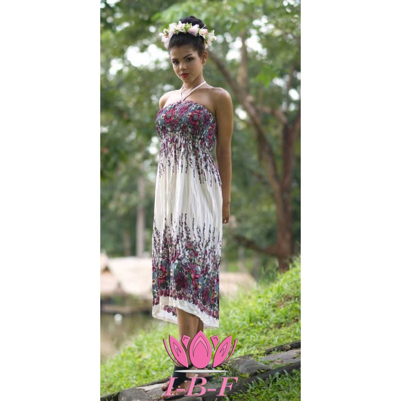 Dress, white with purple flowers