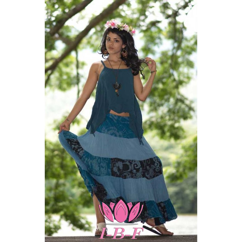 Patchwork Skirt Blue
