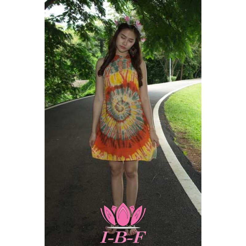 Short dress, tie-dye, orange