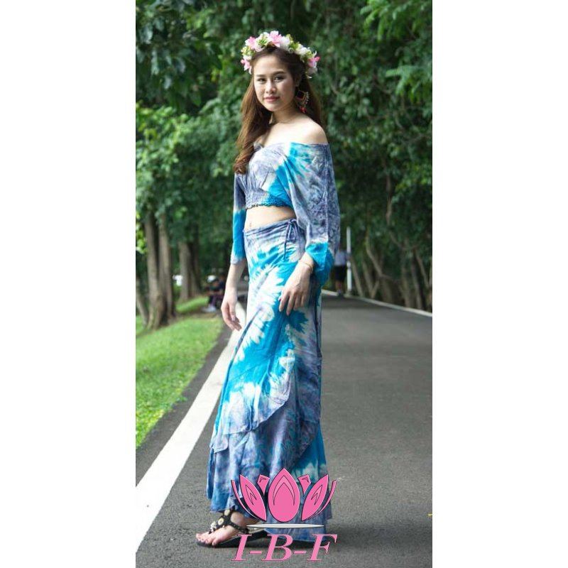 Wrapdress, tie-dye, blue/white