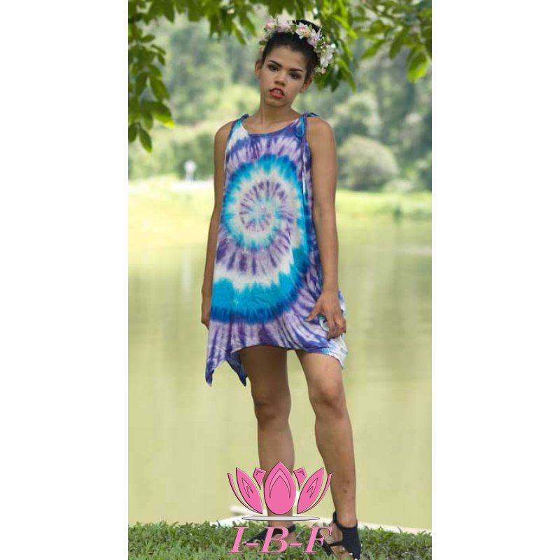 Short dress, tie-dye, blue/purple