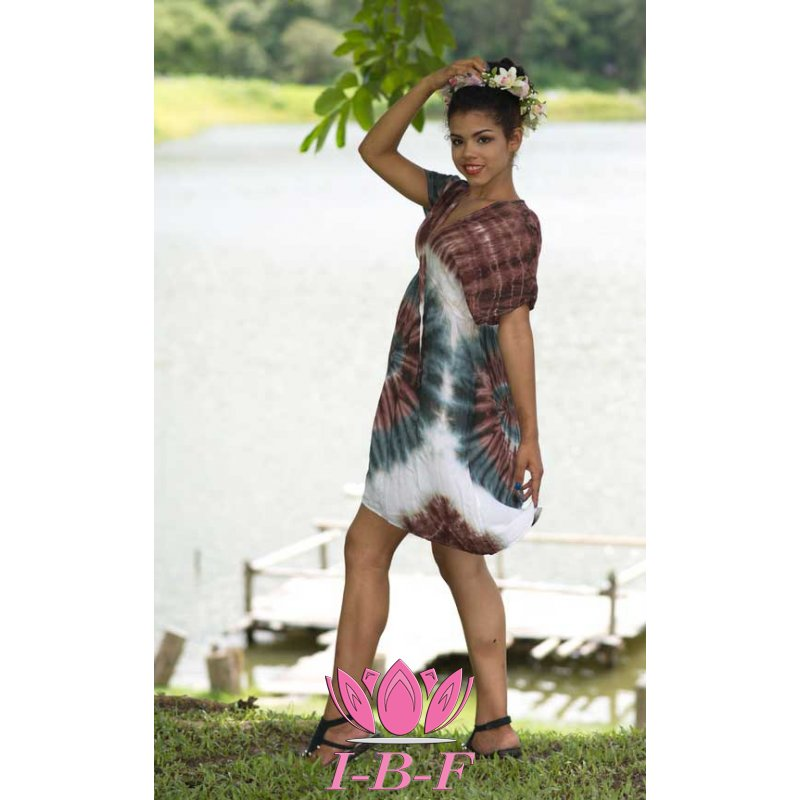 Short Dress, tie-dye, White/brown/turquoise