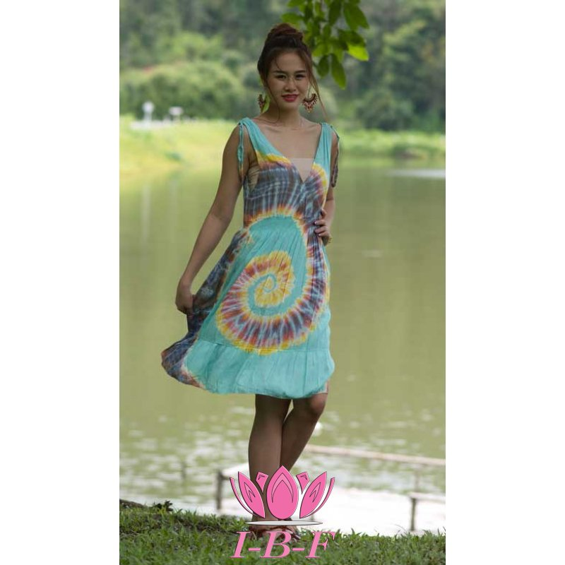 Short dress, tie-dye, blue/yellow/red