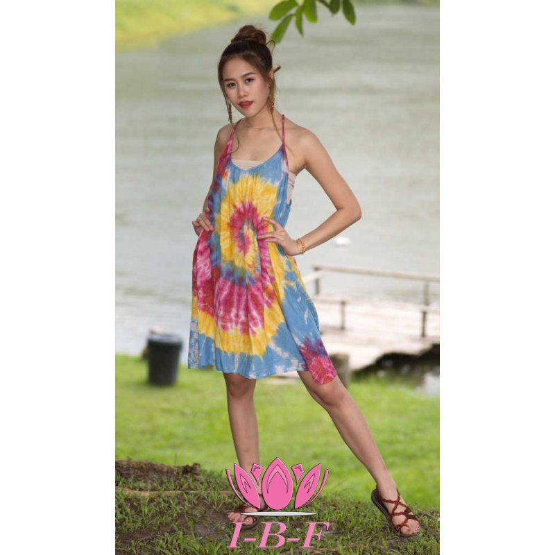 Short dress, tie-dye, blue/yellow/pink