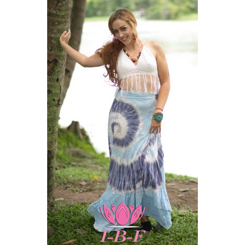 Wrapdress, tie-dye, blue/purple/white